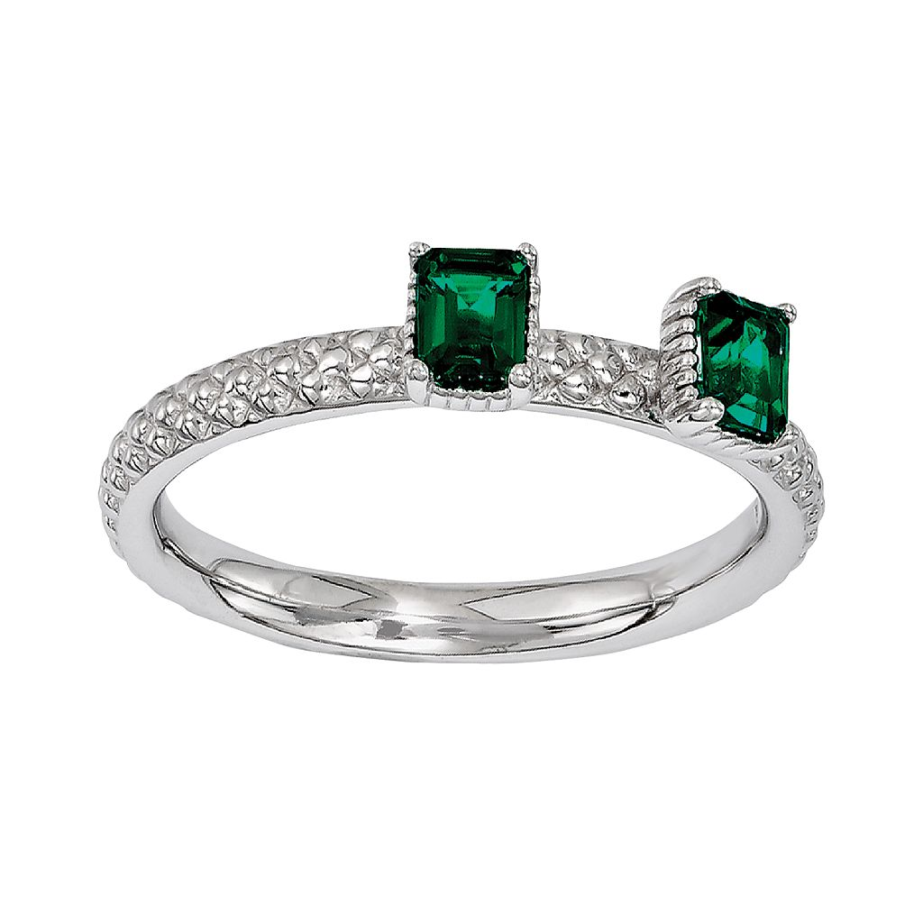 Stacks & Stones Sterling Silver Lab-Created Emerald Beaded Stack Ring