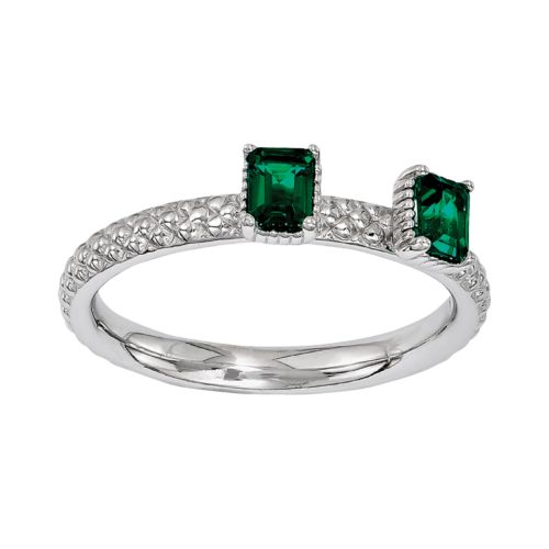 Stacks and Stones Sterling Silver Lab-Created Emerald Beaded Stack Ring