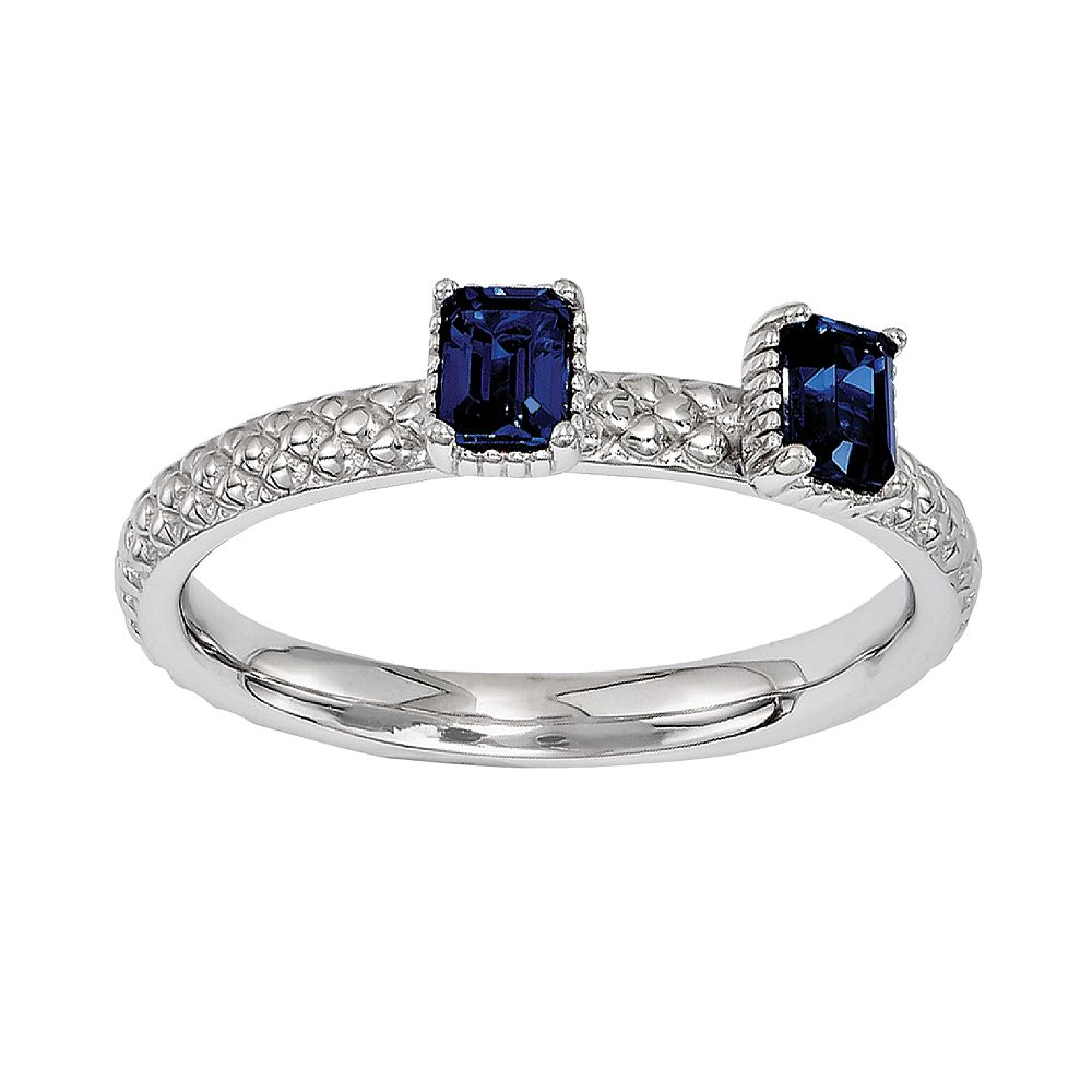 Stacks & Stones Sterling Silver Lab-Created Sapphire Beaded Stack Ring