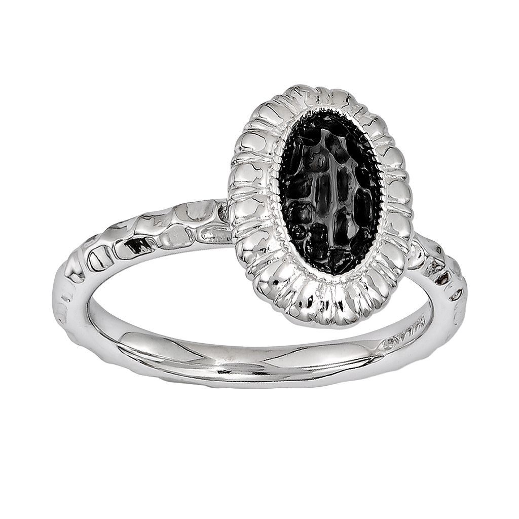 Stacks & Stones Rhodium- & Black Ruthenium-Plated Sterling Silver Textured Frame Stack Ring