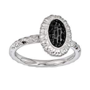 Stacks and Stones Rhodium- and Black Ruthenium-Plated Sterling Silver Textured Frame Stack Ring