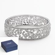 Napoli Silver Tone Simulated Crystal Filigree Cuff Bracelet