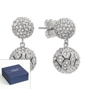 Napoli Silver Tone Simulated Crystal Ball Drop Earrings