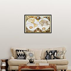 Art.com 'Map of the World' Framed Art Print
