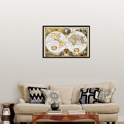 """Art.com """"Map of the World"""" Framed Art Print"""
