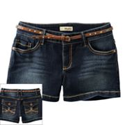Mudd Belted Denim Shorts - Girls Plus