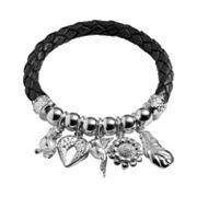 Silver Plated Crystal Bead and Bird Charm Woven Leather Stretch Bracelet