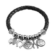 Silver Plated Crystal Bead and Good Luck Charm Woven Leather Stretch Bracelet