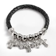 Silver Plated Crystal Bead and Cross Charm Woven Leather Stretch Bracelet
