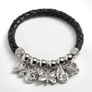 Silver Plated Crystal Bead and Butterfly Charm Woven Leather Stretch Bracelet