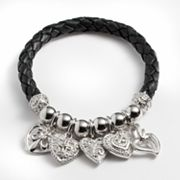 Silver Plated Crystal Bead and Heart Charm Woven Leather Stretch Bracelet