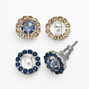 Chaps Silver Tone Simulated Crystal Interchangeable Charm Stud Earring Set