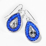 Princess Vera Wang Silver Tone Simulated Crystal and Bead Teardrop Earrings