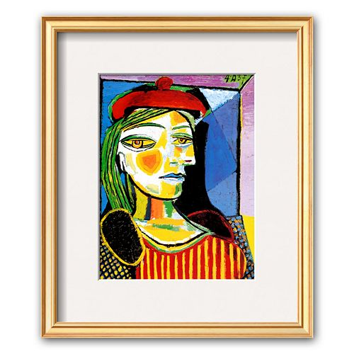 "Art.com ""Girl with Red Beret"" Gold Finish Framed Art Print by Pablo Picasso"