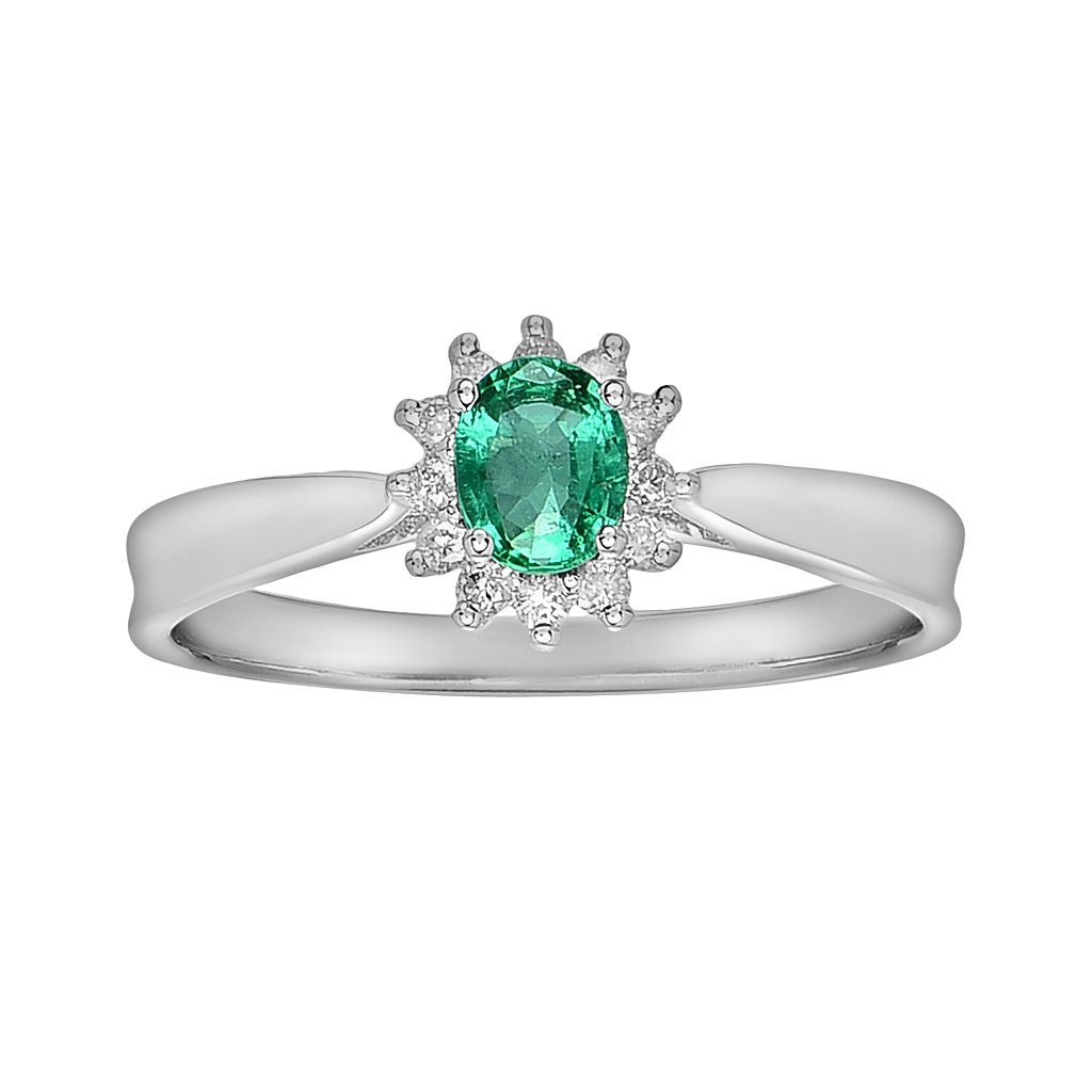 14k White Gold 1/10-ct. T.W. Diamond & Emerald Ring