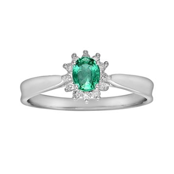 14k White Gold 1/10-ct. T.W. Diamond & Emerald Ring