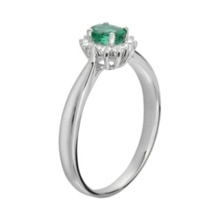 14k White Gold 1/10-ct. T.W. Diamond and Emerald Ring