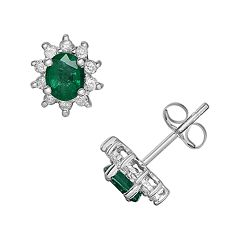 14k White Gold 1/5 ctT.W. Diamond & Emerald Stud Earrings