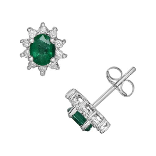 14k White Gold 1/5-ct. T.W. Diamond and Emerald Stud Earrings
