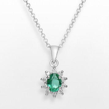 14k White Gold 1/10-ct. T.W. Diamond & Emerald Pendant
