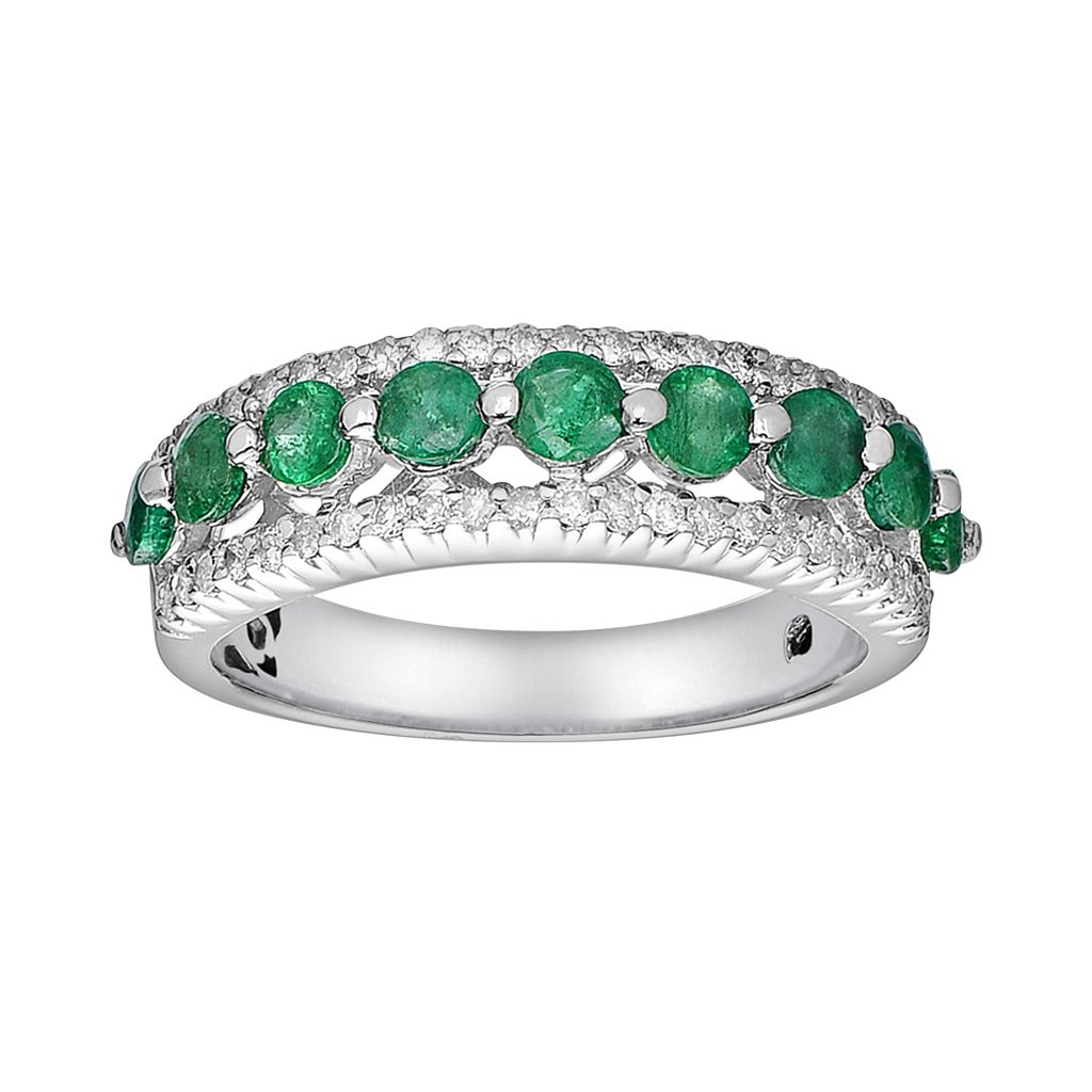 10k White Gold 3/10-ct. T.W. Diamond & Emerald Ring