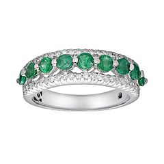 10k White Gold 3/10 ctT.W. Diamond & Emerald Ring