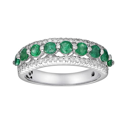 10k White Gold 3/10-ct. T.W. Diamond & Emerald Ring