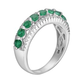 10k White Gold 3/10-ct. T.W. Diamond and Emerald Ring