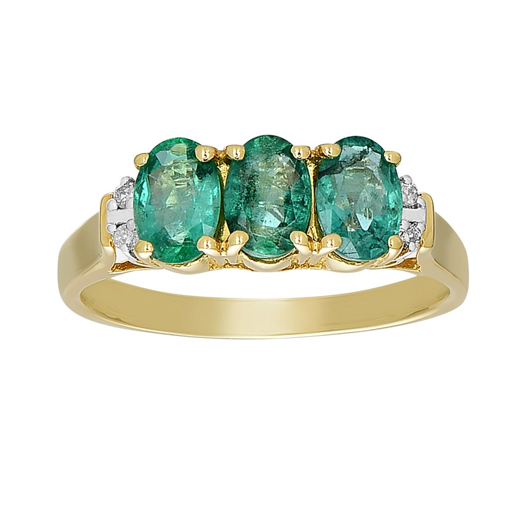 10k Gold Emerald & Diamond Accent 3-Stone Ring