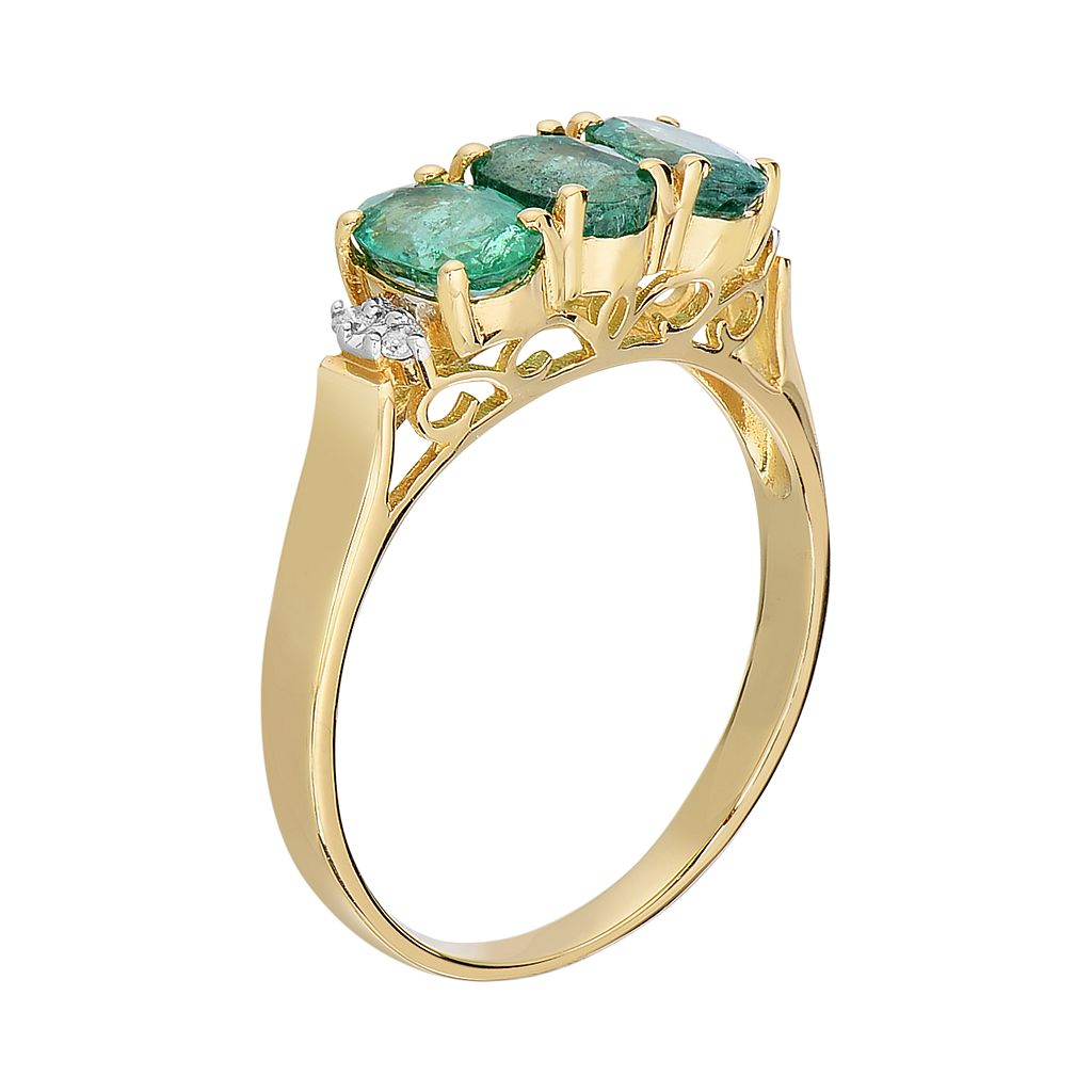 10k Gold Emerald and Diamond Accent 3-Stone Ring