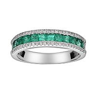 14k White Gold 1/5-ct. T.W. Diamond & Emerald Ring