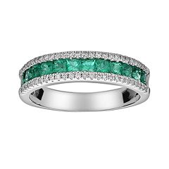 14k White Gold 1/5 ctT.W. Diamond & Emerald Ring