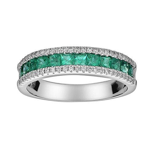 14k White Gold 1/5-ct. T.W. Diamond & Emerald Ring