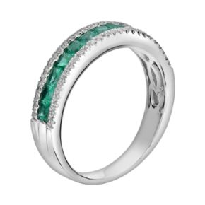 14k White Gold 1/5-ct. T.W. Diamond and Emerald Ring