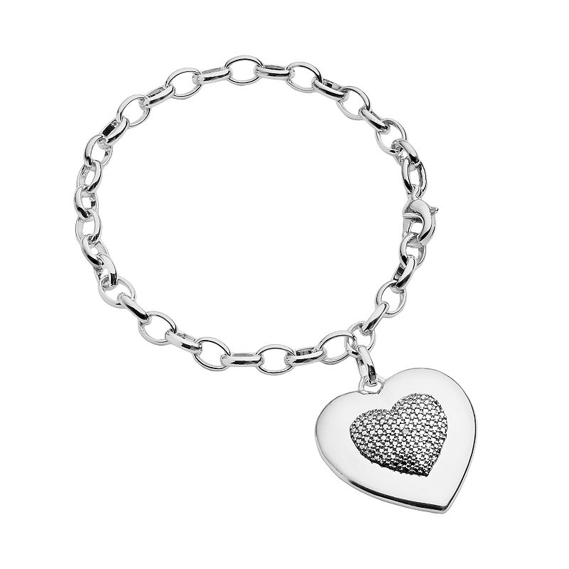Silver Plated Diamond Accent Textured Heart Charm Bracelet