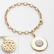 Gold Tone Silver Plated Diamond Accent Textured Disc Charm Bracelet