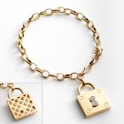 Gold Tone Silver Plated Diamond Accent Lock Charm Bracelet