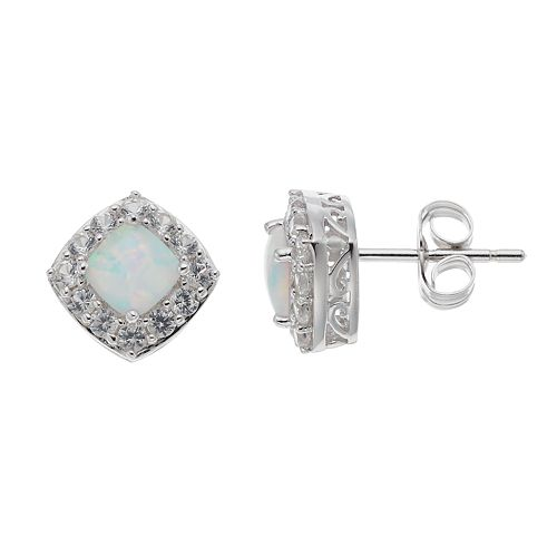 Sterling Silver Lab-Created Opal & White Sapphire Cushion Stud Earrings