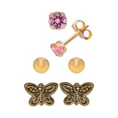 14k Gold Pink Cubic Zirconia, Ball & Butterfly Stud Earring Set