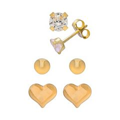 14k Gold Cubic Zirconia, Ball & Heart Stud Earring Set