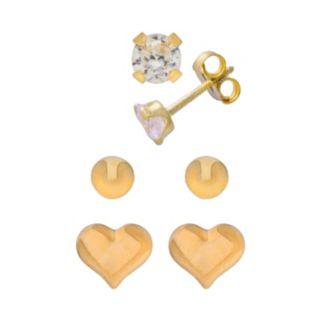 14k Gold Cubic Zirconia, Ball and Heart Stud Earring Set
