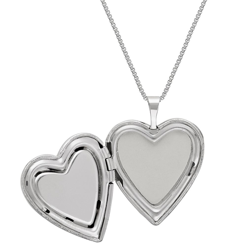 Sterling Silver Ombre Crystal Heart Locket