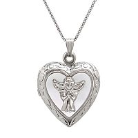 Sterling Silver & Mother-of-Pearl Angel Heart Locket