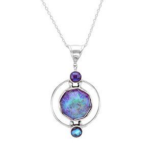 Sterling Silver Rainbow Lavender Quartz Pendant