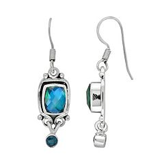 Sterling Silver Caribbean Blue Quartz & Celestial Swiss Blue Quartz Drop Earrings