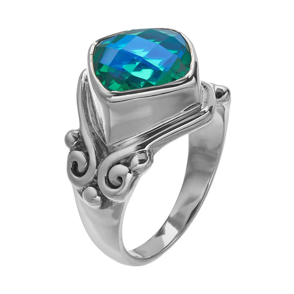 Caribbean Blue Quartz Sterling Silver Ring