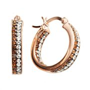Sterling 'N' Ice 14k Rose Gold Over Silver Crystal Hoop Earrings - Made with Swarovski Elements