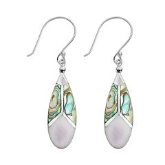 Sterling Silver Abalone & Purple Shell Teardrop Earrings