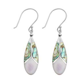 Sterling Silver Abalone and Purple Shell Teardrop Earrings