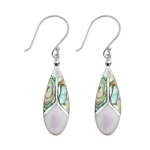 Sterling Silver Abalone & Purple Shell Teardrop Earrings